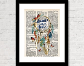 Dream Without Fear,  Boho Art, Dreamcatcher,  Boho Decor, Modern Hippie, Dorm Art, Bohemian - Dictionary Art Print, Dictionary Art