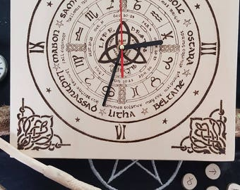 Wheel of the year clock-pyrography on wood