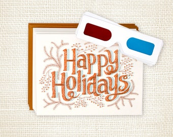 Holiday Card Set of 6 - Happy Holidays 3D