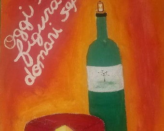 8x10 print of painting here today gone tomorrow, wine and cheese decor