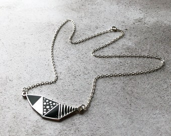 Stars and Mountains necklace / geometric necklace / black and silver necklace / enamel necklace, gift for her, Valentines gift, gift for mom