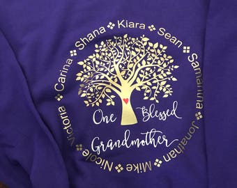 One Blessed Grandmother French Terry Pullover Hooded Sweater Hoodie Nana Mimi Personalized names of all Grandchildren womens or unisex tee