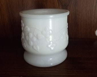 Milk Glass Planter, Flower and Vines, Candy Dish