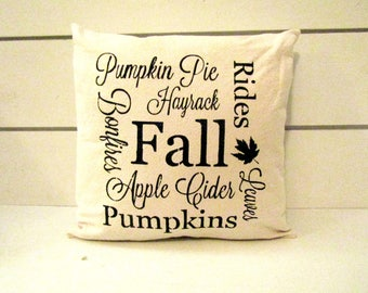 Fall Shabby-Chic Farmhouse Pillow