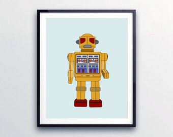 Robot prints, Robot Art, Toddlers wall decor, Prints for Boys, Robot Nursery Art, Robot Nursery Decor, Kids Bedrooms, Colorful Wall Art