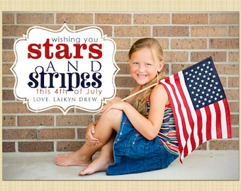 4th of July photo card - Independence Day greetings card (stars and stripes)