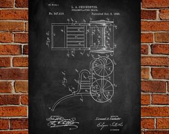 1895 Perambulating chair Art Print,  Patent, Perambulating chair Vintage Art,  Blueprint,  Poster, PatentPrints, Wall Art, Decor [Vi79A]