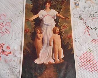 Spring MOTHER & CHILDREN Litho Print, Boy Girl Mom, Peaceful Earth Tones, 1940s Original, Greek Charitas Grace Fertility Goddess 8 x 16
