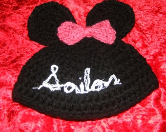 Mickey  or Minnie Mouse Ears Baby Hat -Personalized