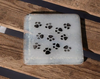 Fused Glass Paw Print Coasters