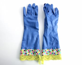 Designer Cleaning Gloves. Limited Edition Winter Sky Blue. Size Small. Women's Rubber Kitchen Work Gloves. Spring Cleaning Gift Under 30.