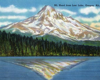 Mount Hood, Oregon - Mountain View from Lost Lake - Vintage Halftone (Art Print - Multiple Sizes Available)