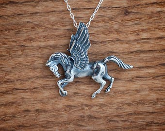 STERLING SILVER Pegasus Pendant Necklace - Chain Optional