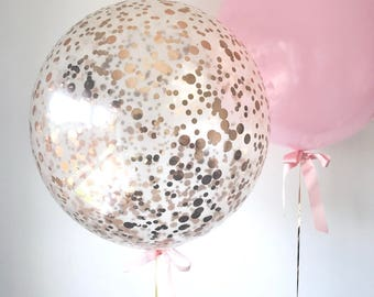 Rose Gold Confetti Balloons // Giant 90cm pack of 1