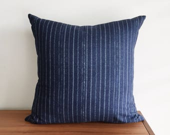 "Indigo Blue Pin Stripe, 20x20"" Pillow Cover"