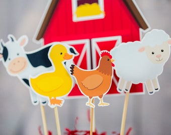 Farm Party Centerpieces in Red - Instant Download Farm Party Table Decorations - Farm Birthday Party Decorations - Barnyard Centerpieces