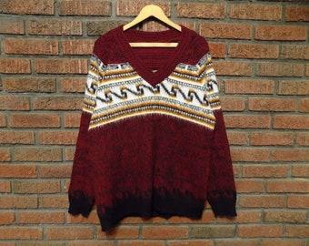 Vintage 70s High-Pile V-Neck Sweater Men's L