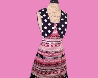 Ladies reversible pink and black apron