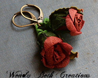 Red Paper Rose Earrings
