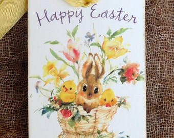 Happy Easter Bunny & Chicks In A Basket Easter Gift or Scrapbook Tags or Magnet #329
