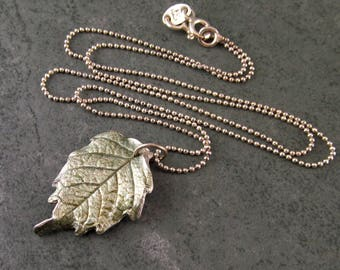 Silver leaf pendant-OOAK handmade eco friendly fine silver necklace