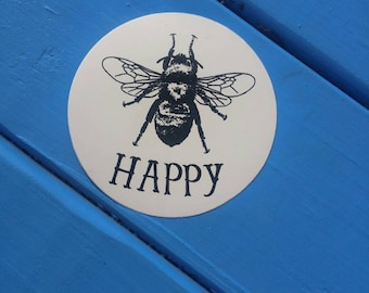 Sticker bundle/ 3 for 3.75 plus shipping/ sticker packs/ buy more and save/ vinyl stickers/ decals/ laptop sticker/ bee happy/ bee sticker/