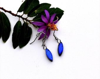 190 Small dichroic fused glass earrings wedge shape in dark blue