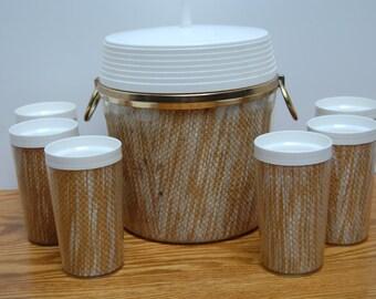Vintage Ice Bucket, 6 glasses, Insulated Bucket, Raffia Bucket, Burlap Bucket, Patio Glasses, Picnic Glasses, Mid Century, Matching Glasses