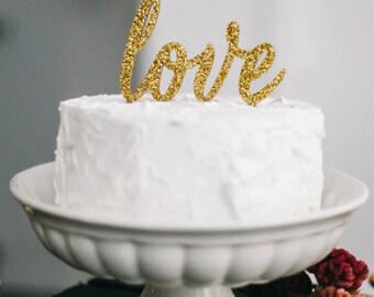 Love Cake Topper, Gold Cake Topper, Wedding Cake Topper, Anniversary Cake Topper, Birthday Cake Topper
