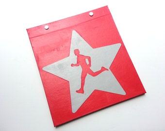 Race Bib Holder - Run Star Male/Female Runner - Hand-bound Book for Runners - Red and Light Gray