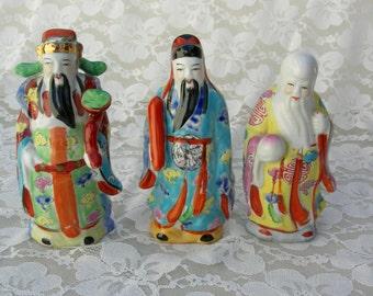 "Chinese Deities Fu Lu & Shou, 5 1/2"" small ceramic figurines representing prosperity, status and longevity"