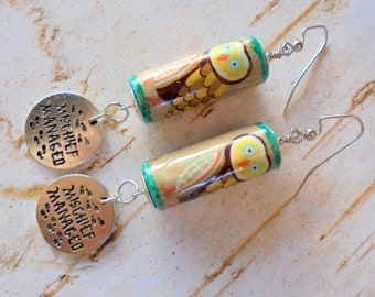 Tan, Aqua, Yellow and Brown Harry Potter Themed Mischief Managed Owl Earrings (4341)