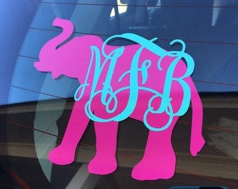 Monogram Elephant Decal, Elephant Decal with Initials, Elephant Car Window Decal