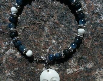 Gemstone Bracelet With Moon face Charm