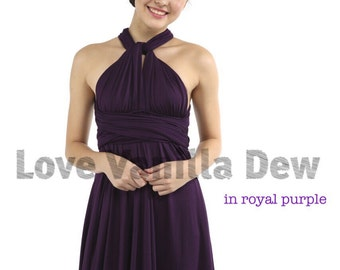 Bridesmaid Dress Infinity Dress Royal Purple Straight Hem Knee Length Wrap Convertible Dress Wedding Dress