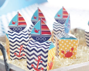 Nautical Party Favor Boxes | Nautical Party Beach Wedding Favors Nautical Wedding Nautical Shower Nautical Birthday Gift Box Ahoy its a Boy