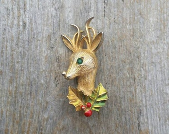 Gerrys Brushed Gold Tone and Enamel Reindeer and Holly Brooch