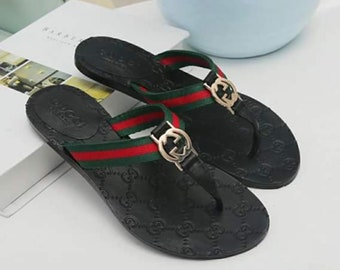 Genuine leather gucci inspired mirror quality sliders