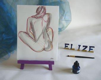 Esquisse artistique Corps Femme nue Dessin Encre Crayon Originale Format 24 x 32 cm 9 x 12 inch Assise dos Piece Unique Art