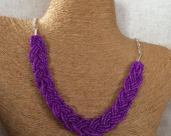 Purple braided bib, purple statement necklace, purple necklace, purple bridesmaids, statement necklace, purple bib necklace, beaded necklace