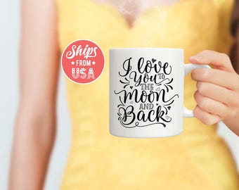 I love you to the moon and back Mug Love coffee mug Valentine's day gift for wife Valentine's mug Gift for girlfriend Hearts coffee mug Gift