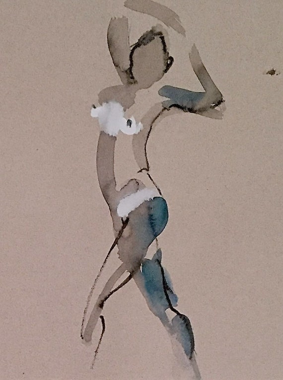 Nude painting of One minute pose 114.1 - Original watercolor painting by Gretchen Kelly