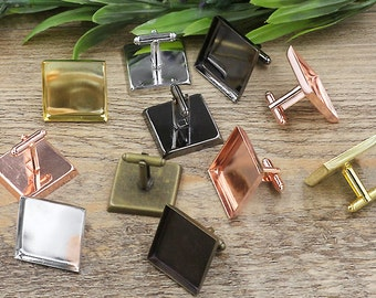 20pcs Cufflinks, Blank Cufflink tray, French Style Cufflinks,Metal Plated Cufflink,with 16mm / 18mm / 20mm / 25mm Square Pad Base Settings