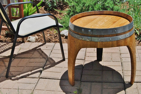arched napa valley wine barrel end table with 3 legs upcycled. Black Bedroom Furniture Sets. Home Design Ideas
