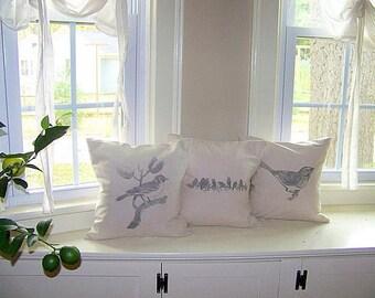 free shipping - vintage style bird pillow cover /bird on branch / gray / spring home decor / bird pillow / bird pillows/ spring / summer /