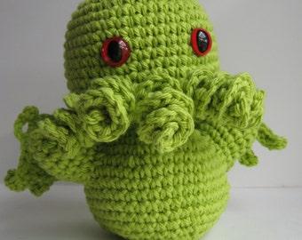 Basic Crochet Cthulhu - lime green - 5 tentacles