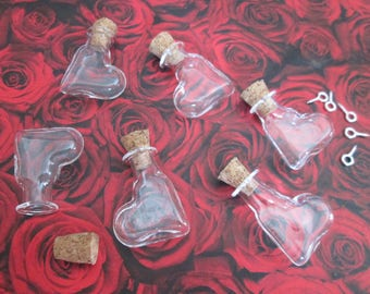 1 glass heart vial leaning 27 * 15 * 6 mm with screw-screw