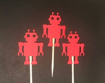 Robot Cupcake Toppers, Robot Birthday, Robot Party, Red Cupcake Toppers, 3.5 Inch Food Picks, Serving Food