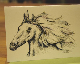 Unicorn - Blank Greeting Card - Ink & Markers - Art - Children