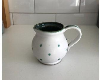 Vintage Stoneware Milk/Cream Jug, White & Green Spots